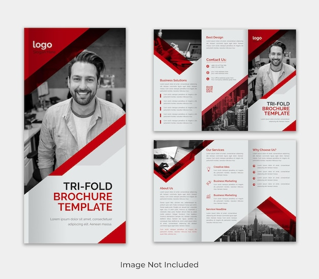 Corporate modern trifold  business brochure template for advertising with creative shape