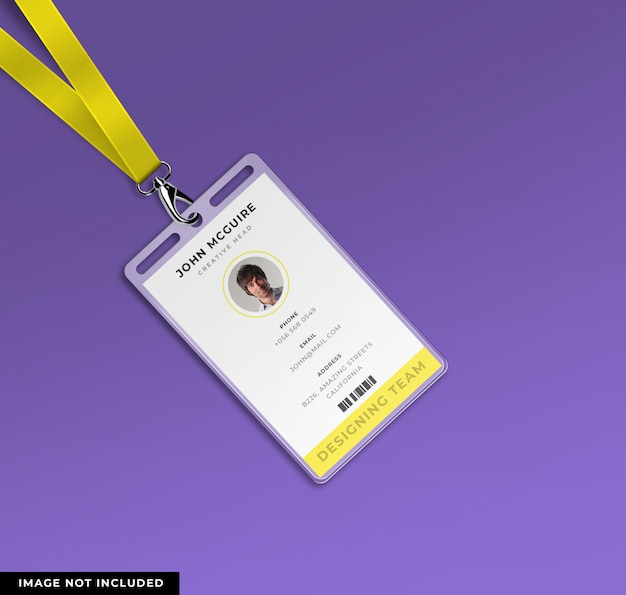 Corporate office id card design with mockup