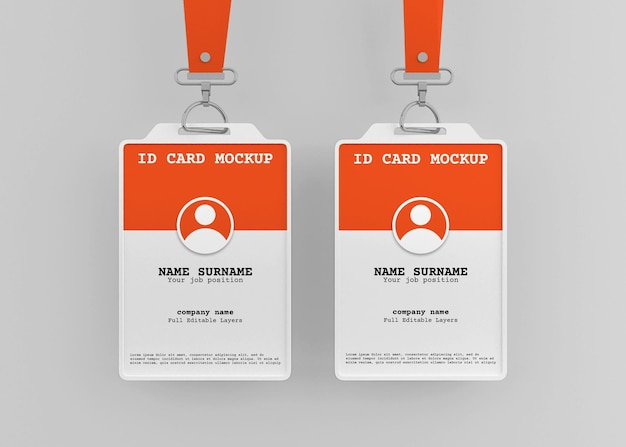 Corporate office id card holder mockup with lanyard