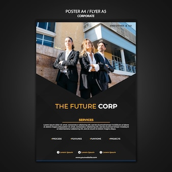Corporate poster template with photo