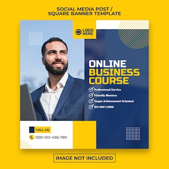 Corporate social media post or square web banner template