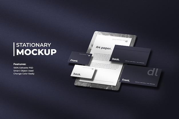 Corporate stationary mockup on dark background