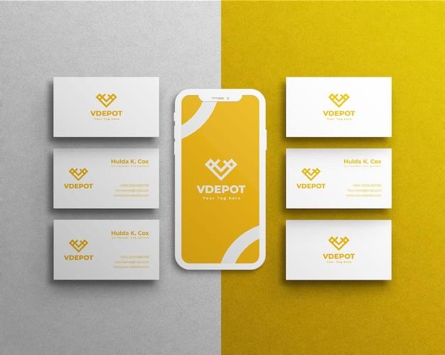 Корпоративный стационарный макет или визитка и мобильный телефон