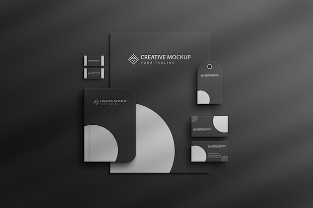 Макет корпоративного канцелярского набора с эффектом тени от окна premium psd