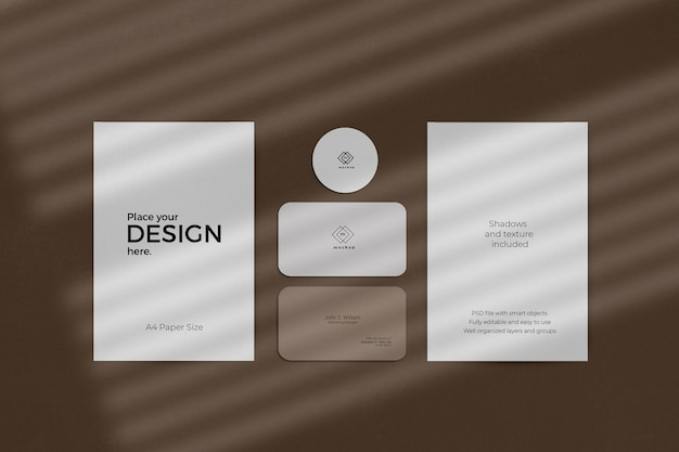 Corporate stationary set mockup with window shadow effect