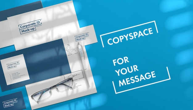 Copyspace와 기업 문구 모의 세트