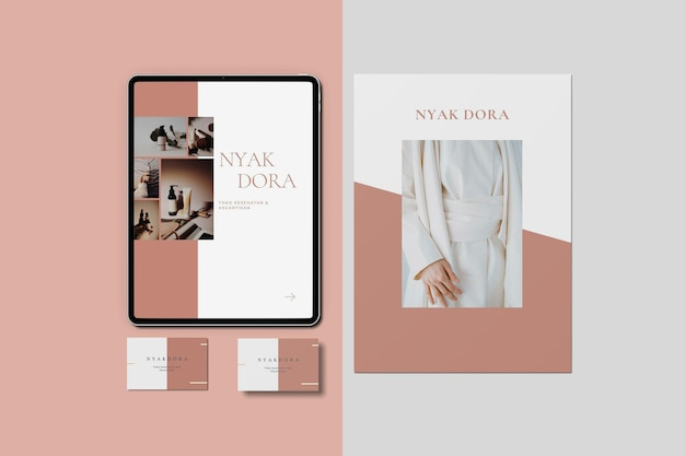 Corporate stationery and tablet top view premium psd