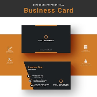 Corporate yellow business card template