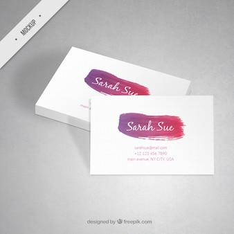 Corporative card mockup with a watercolor brush stroke