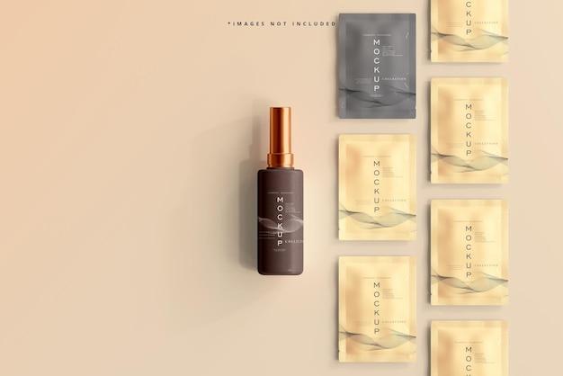 化粧品ボトルと小袋のモックアップ