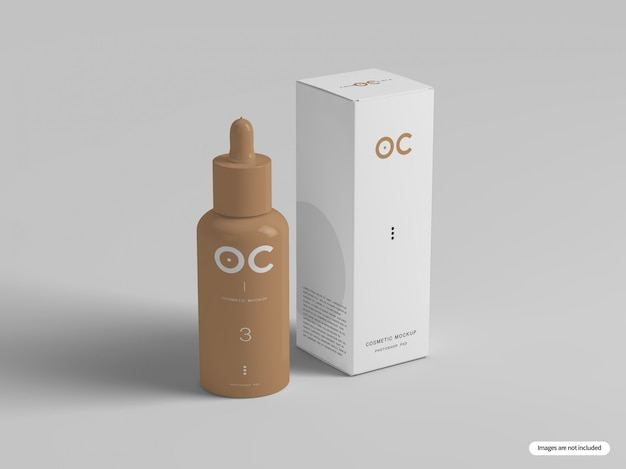 化粧品ボトルとボックスのモックアップ