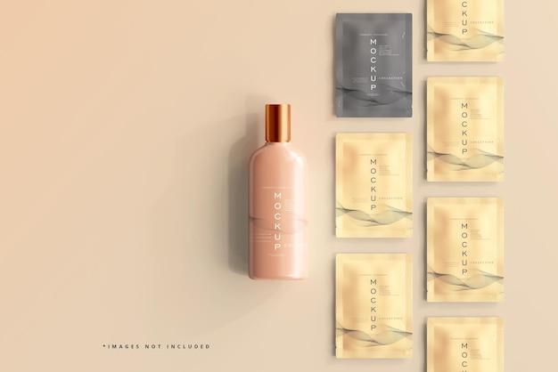 Cosmetic bottle and sachet mockup