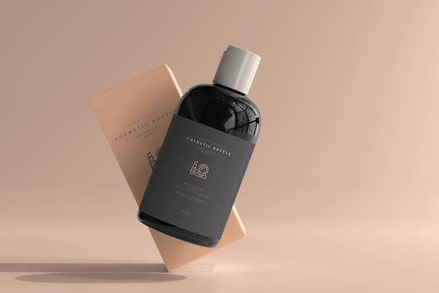 Bottiglia cosmetica con scatola mockup