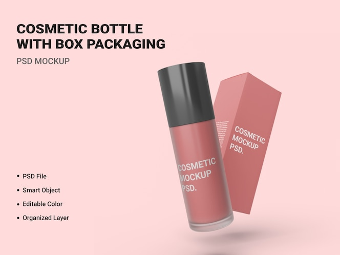 cosmetic bottle with box packaging mockup isolated