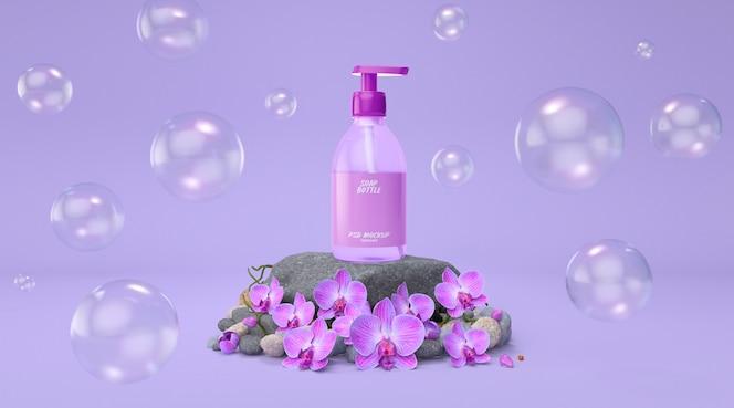 有分配器手洗大模型的化妆瓶在岩石阶段紫色花卉背景3d回报