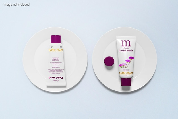 Cosmetic bottles and flate mockup