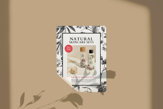 Cosmetic business poster mockup in luxurious botanical theme