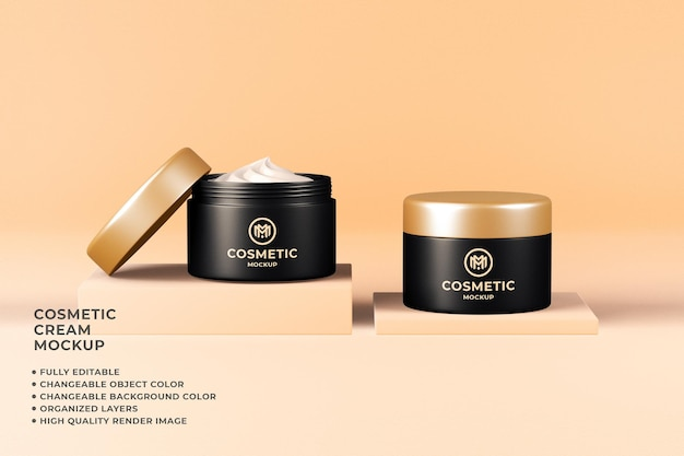 Cosmetic container cream mockup 3d render changeable color