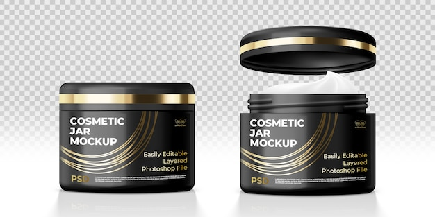 Cosmetic cream black jar mockup