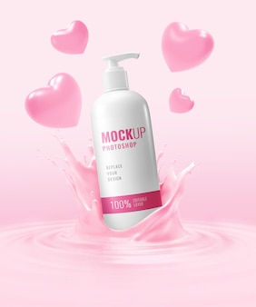 Cosmetic cream bottle mockup advertising valentine