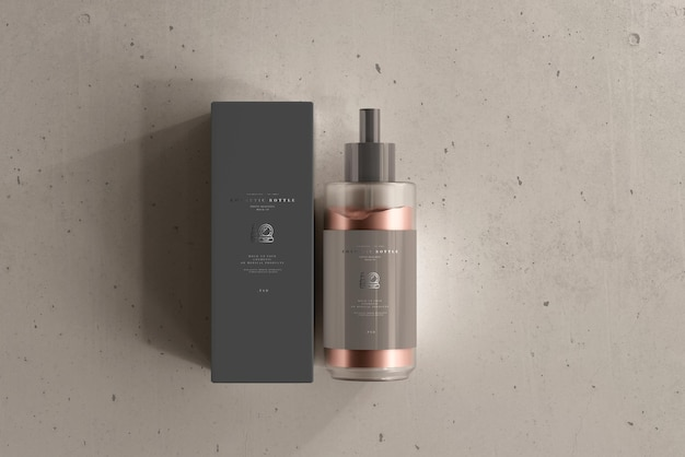 Cosmetic cream bottle with box mockup