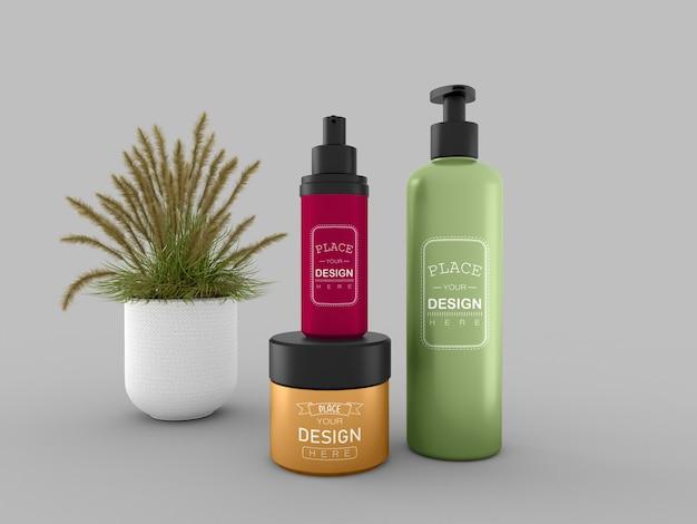 Контейнер и бутылка для косметического крема. мокап для упаковки крема, лосьона, сыворотки, ухода за кожей.