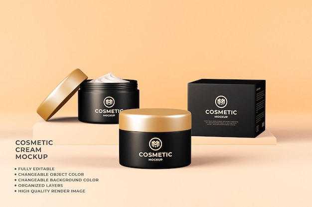 Cosmetic cream container mockup 3d render changeable color