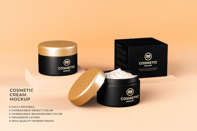 Cosmetic cream container mockup 3d render editable color