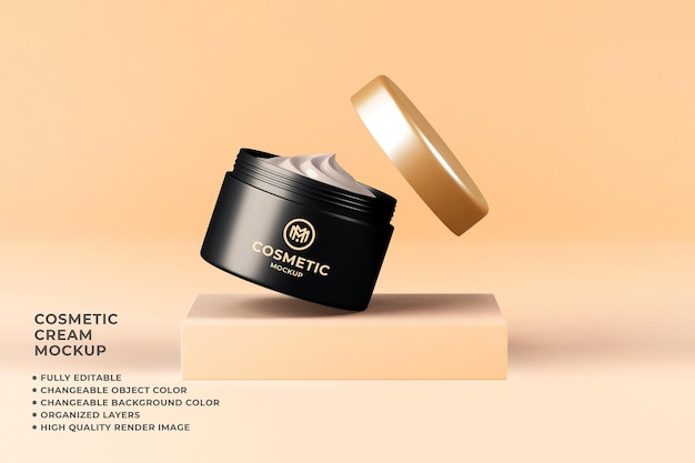 Cosmetic cream container mockup editable color 3d render
