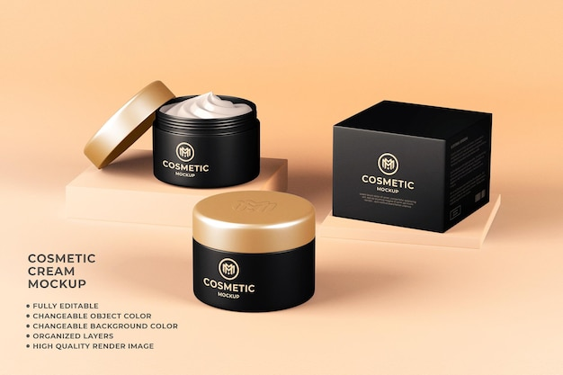Cosmetic cream container mockup editable color
