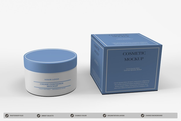 Cosmetic cream container packaging mockup design