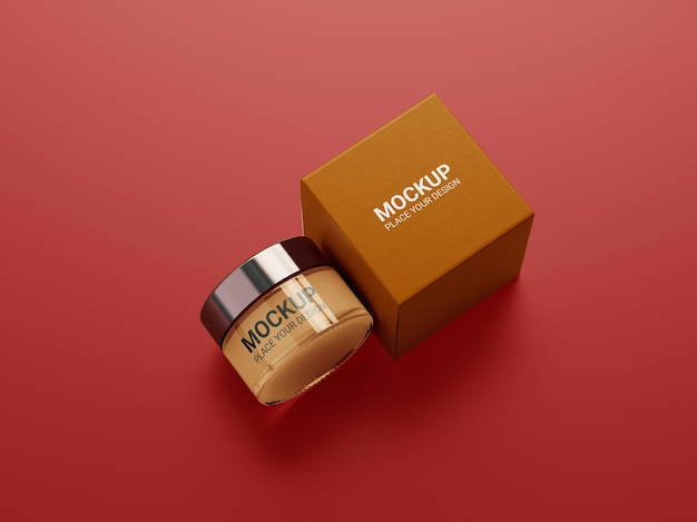 Cosmetic cream container packaging mockup