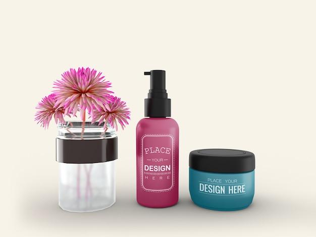 Contenitore e tubo per crema cosmetica mockup per crema, lozione, siero, confezione di flaconi vuoti per la cura della pelle.
