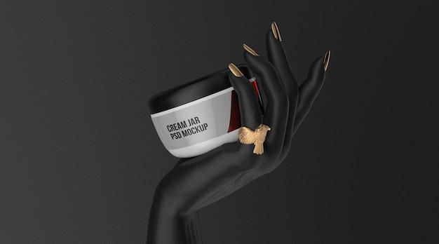Cosmetic cream jar mockup on black hand 3d render