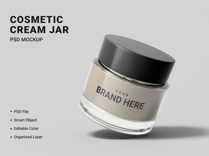 cosmetic cream jar mockup design isolated