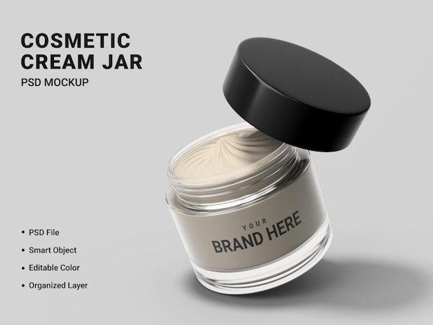 Cosmetic cream jar mockup design isolated