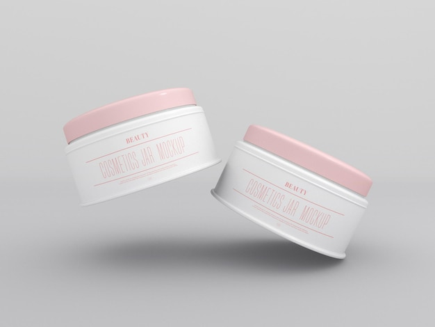Cosmetic cream jars mockup