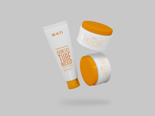 Cosmetic cream jars & tube mockup