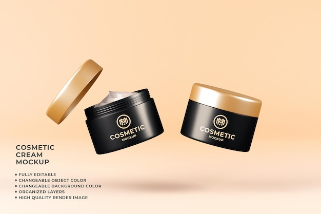 Cosmetic cream mockup floating changeable color 3d render
