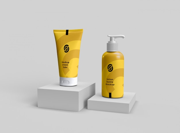 Cosmetic cream tube and lotion bottle mockup