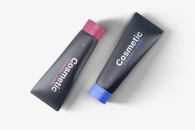 Cosmetic cream tube mockup top view