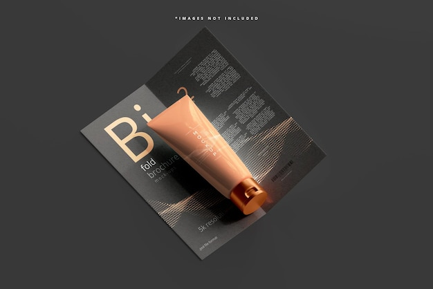 Bi fold 브로셔가있는 화장품 크림 튜브 모형