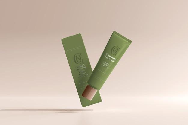 Tubo di crema cosmetica con scatola mockup