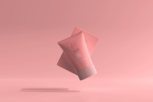 박스 모형이있는 화장품 크림 튜브
