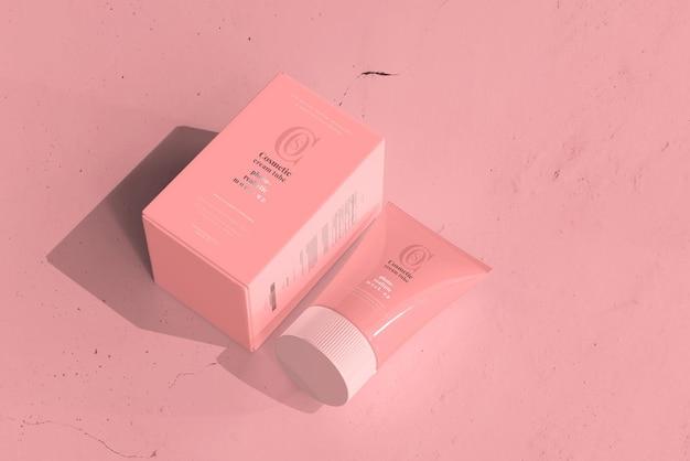 Туба для косметического крема с коробкой mockup