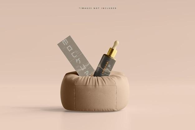 Косметическая бутылка-капельница и макет коробки