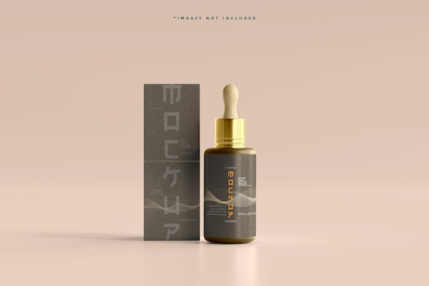 Cosmetic dropper bottle and box mockup