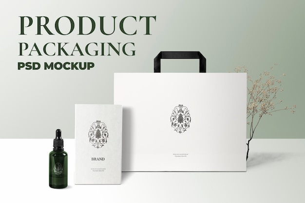 Cosmetic dropper bottle mockup psd with card and bag