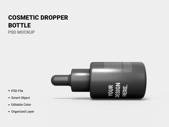 cosmetic dropper bottle mockup rendering
