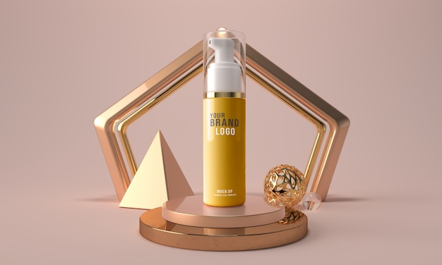 Cosmetic face foam bottle 3d render mockup template